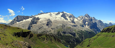 Panoramisches Foto Marmolada Stockfotografie