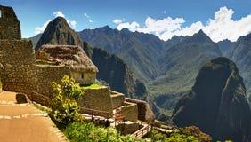Panoramisches Foto von Machu Picchu und von Urubamba-Tal, Peru Stockbild
