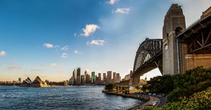 Panoramic view of the Sydney Harbour Bridge, the skyline of the city and the opera house with a beautiful blue sky stock image