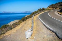 Panoramiweg in souyh Sardinige Stock Foto