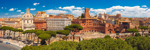 Panoramma of ancient Trajan Forum, Rome, Italy Royalty Free Stock Photo