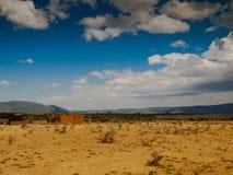 Panoramma-Savanne mit dem Himmel und dem Berg Stockfotografie