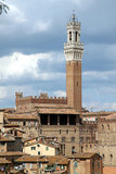 Panoramma Siena#2. Panoramic view of Mangia tower in Campo square, Siena, Italy Stock Images