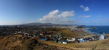 Panoramo of Muroran. Photo was taken in Muroran of hokkaido, the sea is Ocean stock images