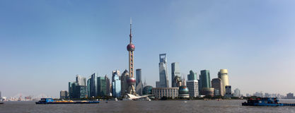 Panoramo van Lujiazui in Shanghai Royalty-vrije Stock Afbeelding
