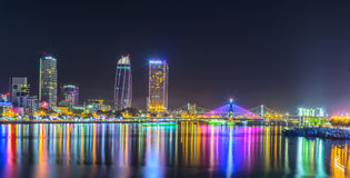 Panoramy da nang miasta życie nocne Obrazy Royalty Free