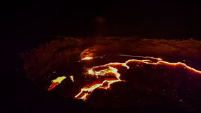 Panoramy Erta Ale wulkanu krater, roztapiająca lawa, Danakil depresja, Etiopia zdjęcie royalty free