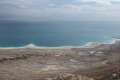 Panoramy fotografia Nieżywy morze w Izrael od masada góry Obraz Stock