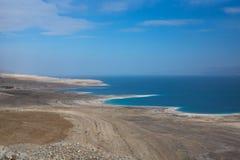 Panoramy fotografia Nieżywy morze w Izrael od masada góry Zdjęcie Stock
