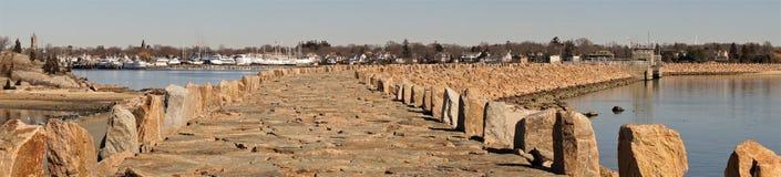 Panoramy huraganowa bariera Nowy Bedford Massachusetts obrazy royalty free