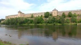 Panoramy Ivangorod forteca, pogodny august dzień Ivangorod, Rosja zbiory