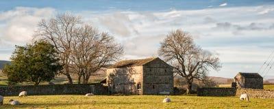Panoramy krajobrazowa tradycyjna kamienna stajnia w Jesiennym countrysid Fotografia Stock