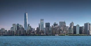Panoramy lower manhattan, linia horyzontu i miastowy tło, Miasto Nowy Jork zdjęcia royalty free