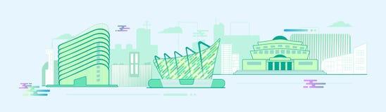Panoramy miasta Płaska Elegancka ilustracja Obrazy Royalty Free