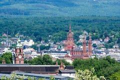 Panoramy miasta widok Wiesbaden w Hessen Niemcy zdjęcia stock