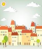 Panoramy miasteczko ilustracji