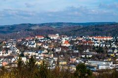 Panoramy miasto Aue w Erzgebirge Saxony Niemcy zdjęcie royalty free