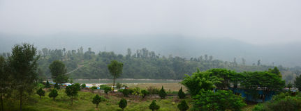 Panoramy natura Annapurna dolina pośrodku iść Pokhara Nepal Zdjęcie Stock