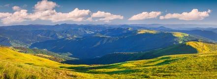 Panoramy ot lato pogodny ranek w carpathian górach Zdjęcia Stock