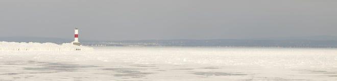 Panoramy Petoskey Pierhead latarnia morska, Petoskey, Michigan w wygranie Zdjęcia Stock
