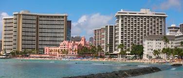 panoramy plażowy waikiki Obrazy Royalty Free