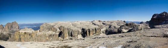 Panoramy Sella grupa, dolomity Włochy obraz stock