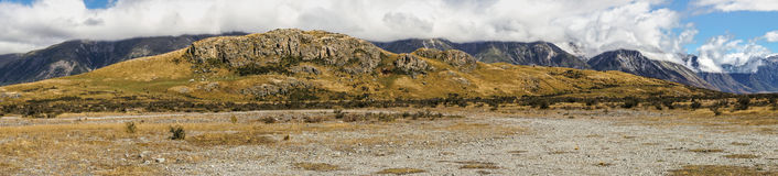 Panoramy skała środek ziemia w górach, Nowa Zelandia Zdjęcia Royalty Free