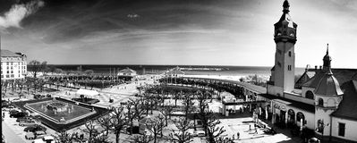 Panoramy Sopotu pejzażu miejskiego widok Artystyczny spojrzenie w czarny i biały Zdjęcia Royalty Free