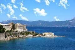 panoramy stary miasteczko Stary miasteczka i morza widok Widok Górski Ionian morze Fotografia Stock