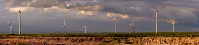 panoramy turbina wiatr Zdjęcia Royalty Free