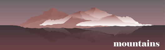 Panoramy wektorowa ilustracja halne granie Mountaineering i Podróżna Wektorowa ilustracja Krajobraz z royalty ilustracja