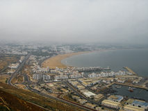 Panoramy widok z lotu ptaka Agadir miasto Maroko Obraz Stock