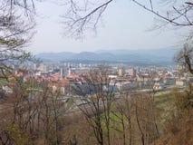 Panorana av en stad Celje i Slovenien Arkivfoton