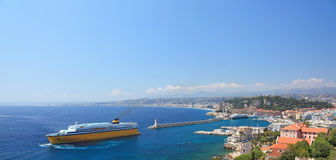 Panorana of city of Nice. stock photos