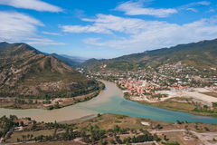 Panorana de Mtskheta, Geórgia Imagem de Stock