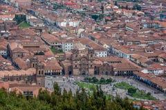 Panoranicmening van Cusco-Erfenisplaats, Peru stock fotografie