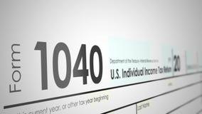 Panorera över en form för skatt 1040 från IRSEN med grunt djup av fältet
