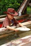 panorera för pojkeguld Fotografering för Bildbyråer