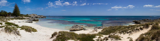 Panorma of Basin beach, Rottnest Island. Panorama view of Basin beach, Rottnest Island, Australia. The panorama is a composite of 5 separate images Stock Image