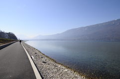 Large view of Bourget lake in Savoy, France Royalty Free Stock Photography