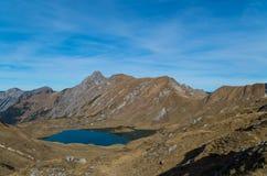 Panorma del lago Schrecksee della montagna nelle alpi di Allgau, Germania Fotografie Stock