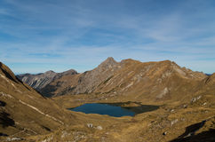 Panorma halny jeziorny Schrecksee w Allgau Alps, Niemcy Obrazy Stock