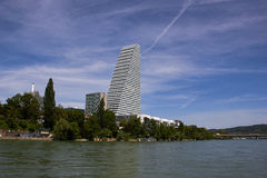 Panorma of Kleinbasel and Headquarter Building of Roche Stock Image