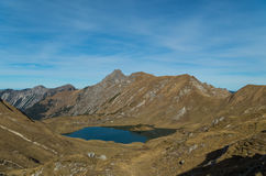 Panorma of mountain lake Schrecksee in Allgau Alps, Germany Stock Photos