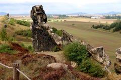 Panormaic sikt från jäkel`-väggen Teufelsmauer Royaltyfri Fotografi