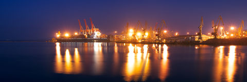 Panormaic view of seaport at night Royalty Free Stock Photo