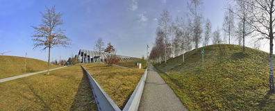 Panormaic view of Zentrum Paul Klee museum in Bern at sunset, Switzerland Royalty Free Stock Image
