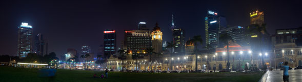 Panormama of square of Independence. Kuala Lumpur, Malaysia - November 3, 2014: Panormama of square of Independence and palace of the Sultan Abdul Samad royalty free stock photography