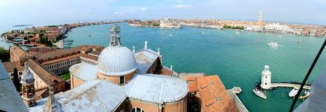 Panormic Aerial view on Grand Canal from San Giorgio Maggiore bell tower in Venice Stock Images