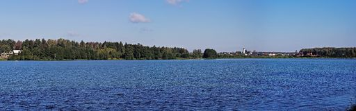 Panormic view of Biserovo lake. One of biggest lakes in Moscow area, lake Biserovo in Noginsk district, near the town Kupavna. Panoramic view Royalty Free Stock Images
